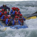 White Water Rafters Hit a Hole in the Water & Get a Big Splash